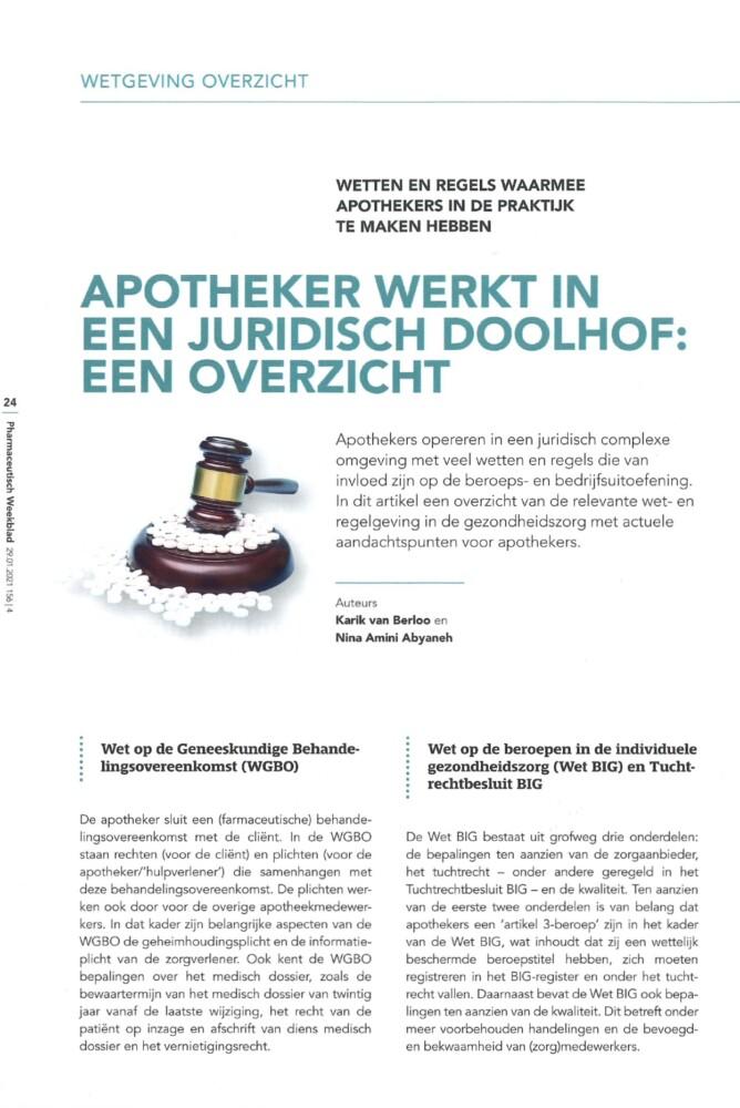 Apotheker werkt in een juridisch doolhof een overzicht - magazine