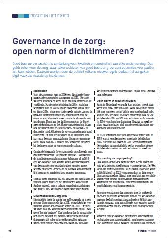 Governance in de zorg open norm of dichttimmeren
